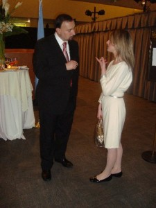 Ambassdor Al-Bayati (Iraq), Antoinette DeLuca, Psy.D.at UN Reception on Women's Issues.