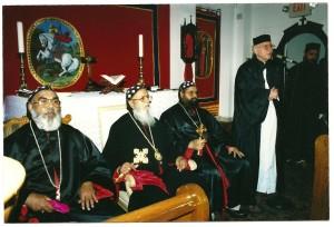 Visiting Bishop of India, H.B. Catholicose, Archbishop Ivanios, Father DeLuca.