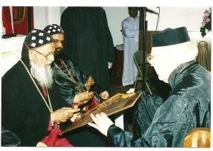 Catholicose blessing the Icon of St. Ignatius and Ignatius University